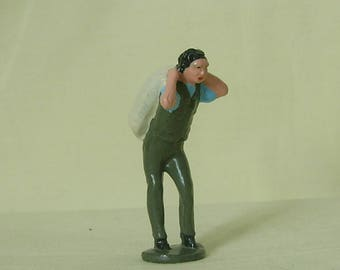 "Miller's labourer carrying flour sack, 2-1/4"" (1:32) collectible figure, hand-painted reproduction of Johillco vintage toy figure"