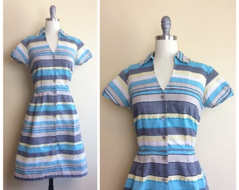80s R + K Originals Blue and White Striped Dress / 1980s Does 1950s / Vintage Short Sleeve Day Dress / Medium