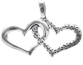 Sterling Silver Linked Hearts Pendant Charm Bracelet Charm Necklace -Jewelry Supplies