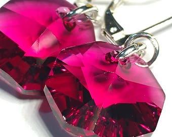 Ruby Swarovski crystal earrings | Simple crystal earrings | Octagon shape earrings | handmade simple earrings for women
