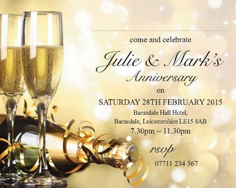 PERSONALISED ANNIVERSARY or Birthday Party Invites Champagne Glasses Invitations