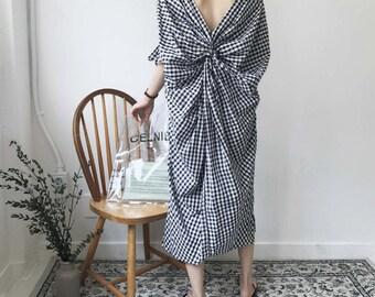 Linen loose fitting lattice dress - long lattice Dress - Linen summer dress - Cotton lattice dress - casual Linen dress - Linen loose dress