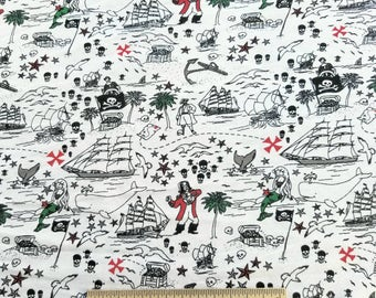 French Terry Fabric with Pirates Print