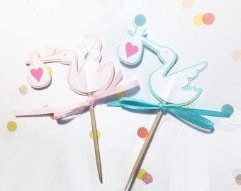 Stork cupcake topper picks baby celebration