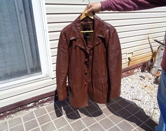 Mans 1970s vintage brown 3 button vintage leather jacket,coat by London Fog size 42R,Nice jacket,coat