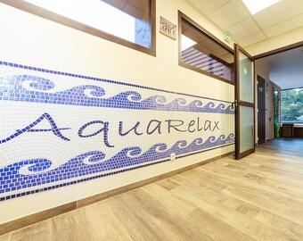 Large mosaic mural decor wave 5