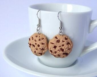 Chocolate chip cookie earrings dangle charms kawaii miniature food