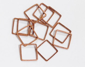 50 pcs of Antique copper plated brass square links 12mm