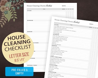 House Cleaning Chores Checklist, Weekly Cleaning Checklist, Chore Chart, House Cleaning, House Keeping, Cleaning List, Letter Size