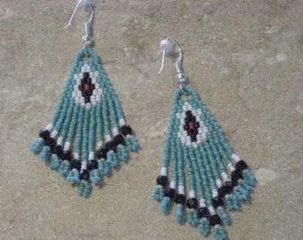 15/0 turquoise Seed Bead Earrings