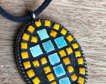 Mosaic Tiny Tiled Cross Pendant