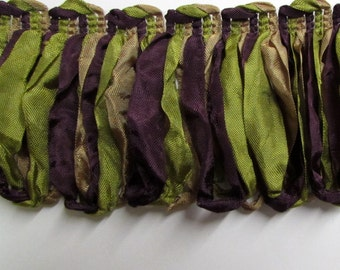 Amazing ribbon Fringe multi in purple green and gold