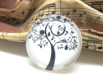 1 cabochon 25 mm glass tree of life 1-25 mm black and white