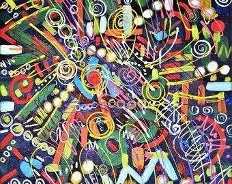 Original Abstract Art, 30x60 acrylic on canvas