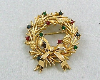 TRIFARI Christmas Wreath Brooch