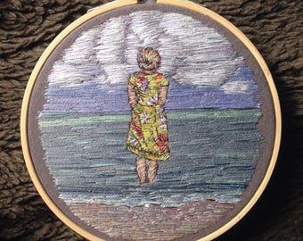 Vintage Girl Embroidered Thread Painting, 1950s Vintage Dress, Seascape, Beach, Hoop Art