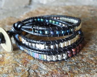 CATALOOCHEE Leather Triple Wrap Bracelet with Brass Coin and Gorgeous Beading