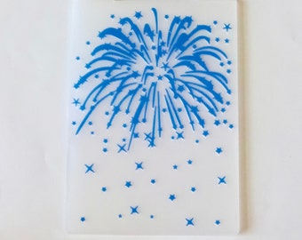 Fourth of July Fireworks Embossing Folder, Holiday Card Embossing, Emboss Folder