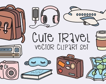 Premium Vector Clipart - Kawaii Travel Clipart - Kawaii Clip Art Set - High Quality Vectors - Instant Download - Kawaii Clipart
