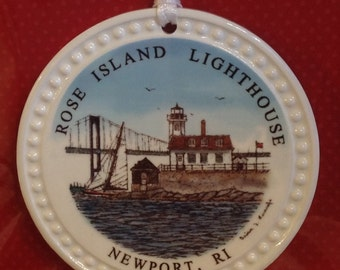 Christmas Ornament-Ceramic Rose Island Lighthouse