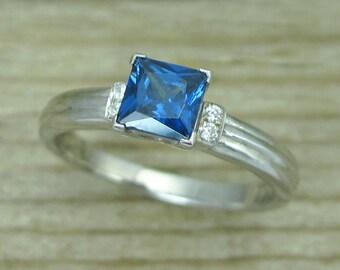 Sapphire Vintage Engagement Ring, Antique Sapphire Engagement Ring, Princess Cut Sapphire Ring, Sapphire And Diamond Antique Engagement Ring
