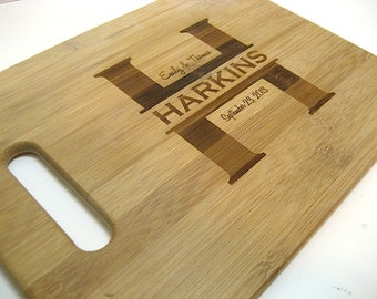Cutting Board - Personalized Cutting Board - Custom Laser Engraved Bamboo Cutting Board  - Family Name Bamboo Cutting Board