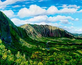 Pali Cliffs, Matted Giclée on Paper print Oahu Koolau Mountains vacation lookout view hawaii