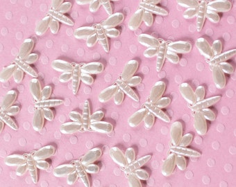 100 Pcs White Pearlized Dragonfly Cabochons - 14x9mm