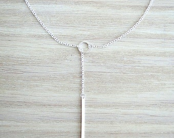 Long 18K Gold Fill or Silver lariat necklace, minimalist necklace, delicate necklace, geometric necklace, choker necklace, elegant necklace