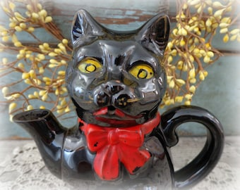vintage black cat redware teapot redware tea pot made in japan shafford 1950s