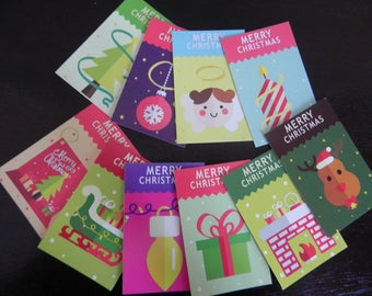 Set of 10 cards with Christmas theme pages greeting/gift tags/marks