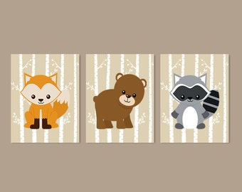 Woodland Nursery Decor, Woodland Animals, Prints Or Canvas, Woodland Wall Art, Forest Animals, Boy Nursery Pictures, Set of 3