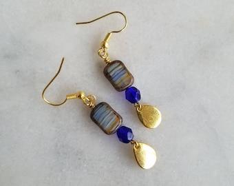 Blue Czech Glass Earring, Gold Dangles
