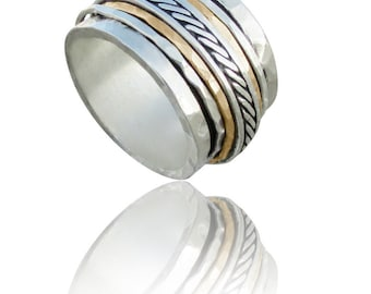 Spinner rings for women,Hammered ,Sterling silver ,gold filled, spinning ring, wide ring, spinner band, fidget ring, meditation ring,