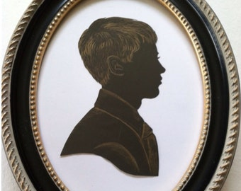 Framed Antique Style Custom Silhouette, 5x7, One Subject, Hand Cut and Hand Bronzed