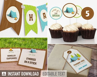 Camping Party Pack - Boy Campout Sleepover - Glamping - INSTANT DOWNLOAD - Printable PDF with Editable Text