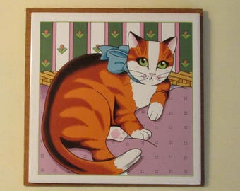 1982 Vandor Ceramic Orange Tabby Cat Kitten Tile Trivet Wall Hanging