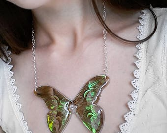 Java Silk Moth Necklace - Moth Wing Necklace - Moth Jewelry - Iridescent Wings - Fantasy Jewelry - Statement Necklace - Lotus