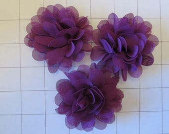 "Set of 3 2.75"" Dark Purple Chiffon Flowers Embellishments Dance Costumes! (C-8)"