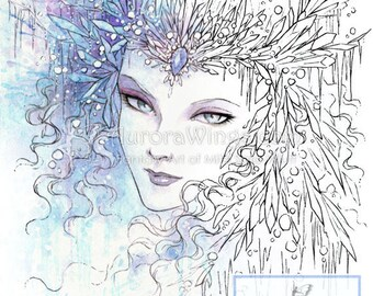 Digital Stamp - Icy Snow Queen - digistamp - Instant Download - Fantasy Line Art for Cards & Crafts by Mitzi Sato-Wiuff