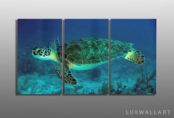 Very Underwater Sea Turtle 3 Panel Metal Wall Art Ready to Hang BC28