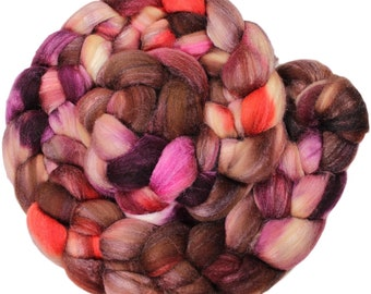 Applebutter - hand-dyed merino wool and silk (4 oz.) painted combed top