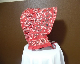 Vintage Old Settler Pioneer Bonnet Hat Elephant Trunk-Down Kerchief Material Red Blue White Hand Made Old Tie Front