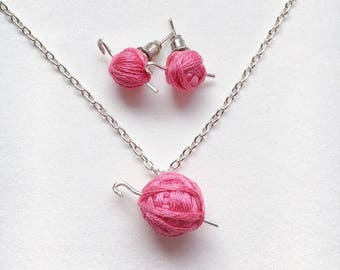 Yarn & Crochet Hook Earrings, Necklace, or Set - Crocheter Gift - Yarn Ball - Silver Hooks - Fiber Arts Lover Gift - Steel Post Cute Studs