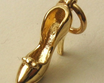 Genuine SOLID 9K 9ct YELLOW GOLD 3D High Heel Shoe charm/pendant
