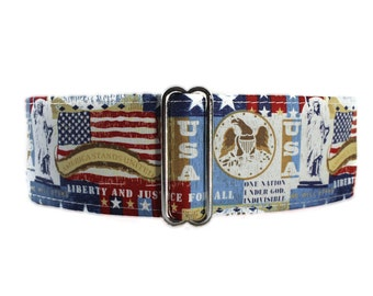 Memorial Day Martingale Dog Collar, 4th of July Martingale Collar, Memorial Day Dog Collar Red White Blue,Greyhound Collar Stars and Stripes