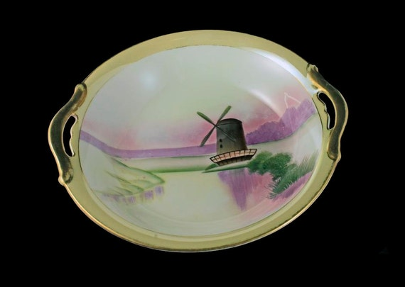Handled Bowl, Meito China, Windmill Pattern, Handpainted, Art Deco Bowl, Gold Trimmed