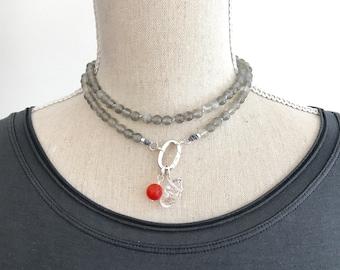 Mala Beads Necklace. Moonstone Mala Necklace with Clasp. Meditation Gifts. Hand Knotted Japa Mala Prayer Beads. Smaller Boho Necklace