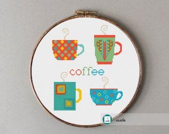Coffee cups cross stitch pattern, modern cross stitch pattern, PDF, instant download