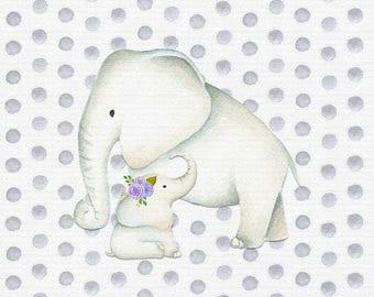 Elephant Themed Nursery Prints - Set of 3 (10 x 10)